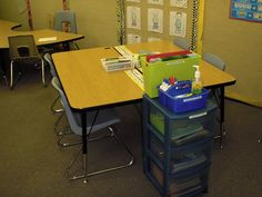 This is perfect! Here is my organization solution to having tables in a portable! Portable Classroom, Classroom Fun, Classroom Organization, Back To School, School Stuff, Drafting Desk, Boxer, Education, Heather Gray