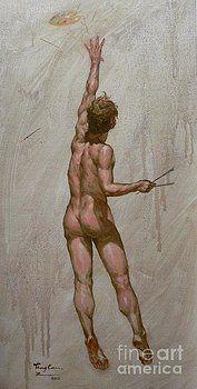 Hongtao     Huang - original oil painting art-male nude of artist -013