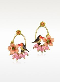 Les Nereides  Sous le Chataignier - Flower and Perched Robin Earrings