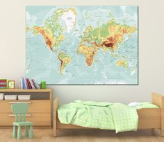 Large textured vintage world map whith countries names canvas print large physical detailed world map wall art with countries names canvas printextra large world map with labeling canvas print ready to hang gumiabroncs Choice Image