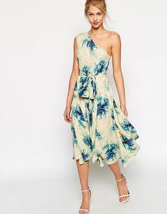 ASOS Premium One Shoulder Midi Dress In Porcelain Flower Print