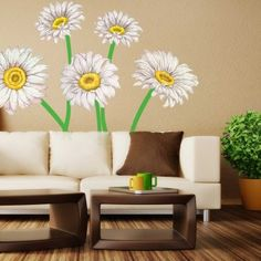 Our Daisy Watercolor Wall Decal Kit is perfect for any room, Nursery or Dorm. The Kit includes 5 Large White Daisies with 12 Stems pieces. Our Watercolor Decal Collection is made up of images taken from our genuine Watercolor Illustrations.