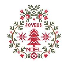 Joyeux Noel cross-stitch ornament - free