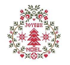 Joyeux Noel cross-stitch ornament - free