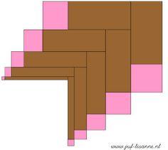 www.juf-lisanne.nl Montessori roze toren en bruine trap bouwvoorbeeld 4 / Montessori pink tower and broad stairs extension sheet 4