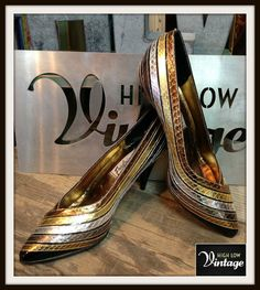 Vintage Gold Silver Bronze Black Metallic Heels by HighLowVintage