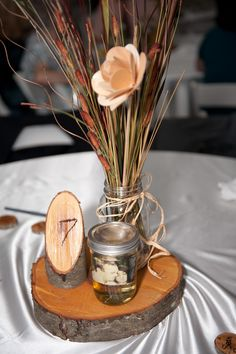 Wood centerpieces and table numbers. DIY!