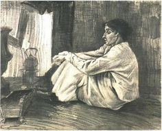 Vincent van Gogh Drawing, Pencil, black chalk, pen, brush, sepia, heightened with white The Hague: April - late in month, 1882 Kröller-Müller Museum Otterlo, The Netherlands, Europe F: 898, JH: 141 Image Only - Van Gogh: Sien with Cigar Sitting on the Floor near Stove