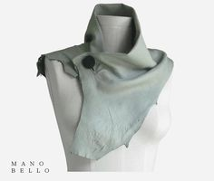 Gray Leather Cowl Scarf, Soft Deerskin Neck Piece in stock. via Etsy.