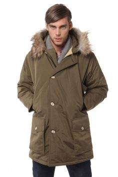 Shop this look for $15:  http://lookastic.com/men/looks/brown-parka-and-navy-jeans-and-grey-shawl-cardigan-and-red-shirt/289  — Brown Parka  — Navy Jeans