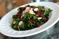 Raw Kale and Beet Salad with Raisins and Almonds. A great salad to woo over kale haters Beet Recipes Healthy, Beet Salad Recipes, Raw Food Recipes, Cooking Recipes, Alkaline Recipes, Kale Recipes, Healthy Nutrition, Dinner Recipes, Salads
