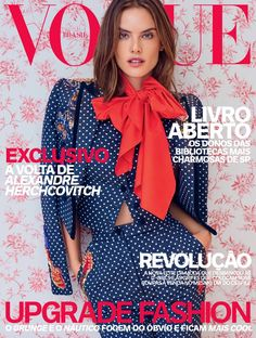 Alessandra Ambrosio poses in a polka dot print pant suit from Dolce & Gabbana on Vogue Brazil April 2016 Cover