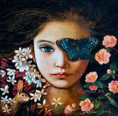 """Blue Butterfly Girl"", mixed media on linen 2016, 16x16"". Shijun Munns"