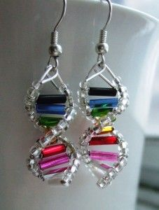 Geek Crafts DNA Earrings I'd wear them! Wire Wrapped Jewelry, Wire Jewelry, Jewelry Crafts, Beaded Jewelry, Handmade Jewelry, Jewellery, Jewelry Ideas, Helix Earrings, Wire Earrings