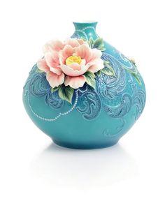 FRANZ PORCELAIN HEAVENLY FRAGRANCE PEONY MID SIZE VASE LIMITED EDITION  FINE PORCELAIN  Status: Available | Condition:New | Edition:Franz Limited Edition Vases Fine Porcelain | Edition Size: Limited Edition of 2000 | Dim:(LxWxH) : 14-1/8x12-3/4x13-5/8 | Franz Porcelain  Price:$1,438.00
