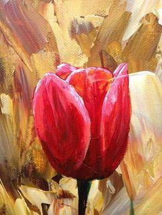 Esta combinación de precioso color agregará una moderna elegancia a cualquier habitación con su versátil todavía brillante composición y colores. Esta pintura moderna de tulipanes rojos tiene un fondo de espátula con aplicación gruesa de pintura para un efecto de textura excelente. El rojo