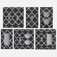 Black & White Quatrefoil Lattice Print Hand Made Light Switch Plates and Outlet Covers