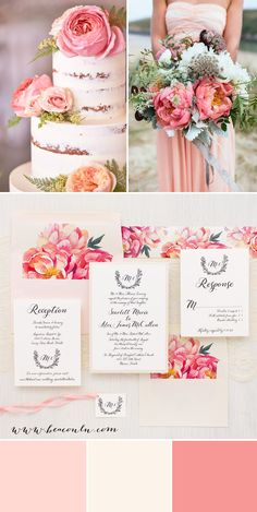 Pink peony, blush peach and ivory garden floral inspired Pink Peonies wedding invitations. Simple typographic fonts on soft ivory paper creates a classic, yet modern/timeless look.