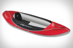 Infinity Inflatable Kayaks. Fits in a backpack and comes in one, two, or three-man versions.