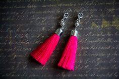 """Купить Серьги-кисточки """"Розарий"""" - фуксия, розовый, серьги, серьги-кисти, серьги кисточки"""