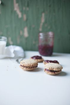 Almond Cookies with Strawberry-Ginger Jam // Portionblog.com