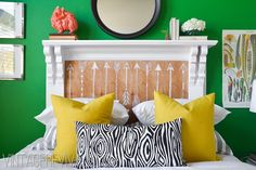 Vintage Revivals: A Perfect Emerald Green Guest Room Overhaul (and what to do with an old fireplace mantle!) Think I would do the inside of the mantel differently. Fireplace Mantle Headboard, Old Fireplace, Homemade Headboards, Headboards For Beds, Headboard Designs, Headboard Ideas, Bedroom Ideas, Shelf Headboard, Pillow Headboard