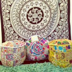 "FINAL PRICE17"" MEDIATION POUF OTTOMAN Hand crafted, one of a kind embroidered Indian Meditation cushion covers.  Each is unique, and would make the perfect gift! Size is 17""diameter and 13"" tall. 5 different styles available. The PERFECT gift! DOES NOT INCLUDE PILLOW INSERT.  Tell me what color you want, and I'll create a listing for you! More pictures to come! Other"