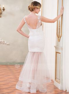Trumpet/Mermaid Sweetheart Floor-Length Tulle Lace Wedding Dress With Ruffle Beading Flower(s) (002050419)