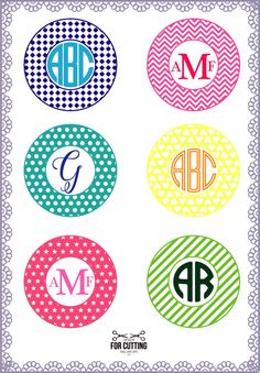 Circle Monogram frames cut Files SVG, DXF, EPS. Cutting or Printing Digital Files, circle frames, Instant Download. 0188