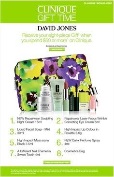 Clinique gift time in Australia: at David Jones with AU$60 purchase.