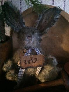 Primitive Bunny~ 1817 Sampler~ Olde Key~ Archive Collection~ Early Style Rabbit