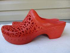 Dansko women clogs sandals 37 / 6.5 - 7 Orange Rubber #Dansko #PlatformsWedges…