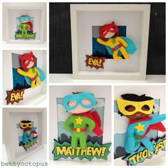 "Callum has a ""Heroes by bettyoctopus"" box frame"