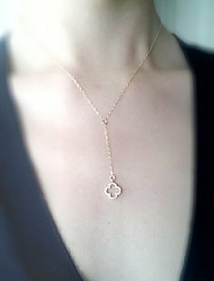 Gold Quatrefoil Clover Necklace Lariat with by heirloomenvy, $25.00