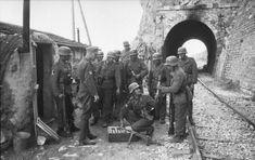WWII, Griechenland (Greece) on September 23, 1943 - The Free Arabian Legion (foreign volunteer units in the Wehrmacht).  A soldier gave the Stielhandgranaten (stik grenade) around the railway tunnel