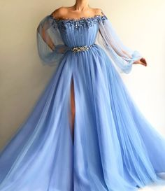 Petite Blue Tulle Long Prom Dress Sexy Slit Evening Dress A-Line Prom Dresses Petite Blue Tüll Langes Abendkleid A-Line Abendkleider A Line Prom Dresses, Floor Length Dresses, Satin Dresses, Elegant Dresses, Sexy Dresses, Party Dresses, Long Dresses, Dress Prom, Gown Dress