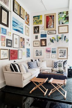 Awesome living room gallery wall