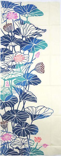 Kenema - Hatisubana (Lotus Flower) (The dyed Tenugui)