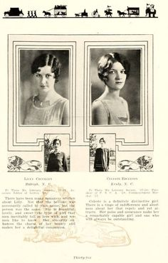 Vintage Yearbook: Meet Lilly & Celeste, Seniors from William Peace University featured in 'THE LOTUS Yearbook. Wonderful look into University life for women and fabulous hairstyle Inspiration. Low Updo Hairstyles, Vintage Hairstyles, Natural Hairstyles, Vintage Short Hair, 1920s Aesthetic, Growing Out Bangs, 1920s Headband, Yearbook Photos, Yearbook Ideas