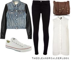 outfits with converse | Eleanor inspired outfit for warm fall weather featuring white Converse ...