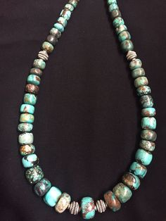 Native American Sterling Silver  Turquoise  Bead Necklace 18 Inches