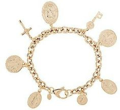 Bronzo Italia Saint Benito Rolo Link Charm Bracelet