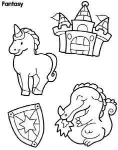Castle Creatures coloring page. felt board idea