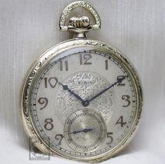 Gold 1933 ELGIN 15 Jewel Mechanical Pocket Watch Ornate Case 12s Fancy Two Tone #Elgin