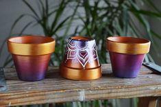 Hand-Painted Terra Cotta Pots, Ombre, Jewel Toned, Flower Pots, Boho, Bohemian, Henna Pattern, Cactus & Succulent planters, Lotus, Metallic