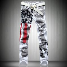 19.76$  Buy here - http://aliyb9.shopchina.info/go.php?t=32719467984 - 2017 New Mens Fashion Jeans American Flag Stamp Full Length White Leisure Jeans Pomo Personality Slim Fit Trousers Long Pants  #magazine