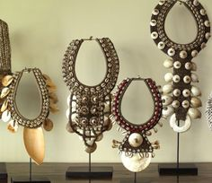 African pieces from Miyo Design (shells, bone, ..)