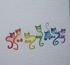 drawing colorful cats Crochet The post Doodling cats . drawing colorful cats Crochet # appeared first on Katzen. Doodle Art, Cat Doodle, Cat Colors, Rock Art, Cat Art, Painting & Drawing, Painting Tattoo, Rock Painting, Art Projects