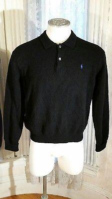 Men's Black 100% Lambswool Sweater by Polo Ralph Lauren Italy Hong Kong XL