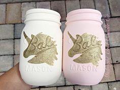 Set of 2 Hand Painted Unicorn Mason Jars by MidnightOwlCandleCo